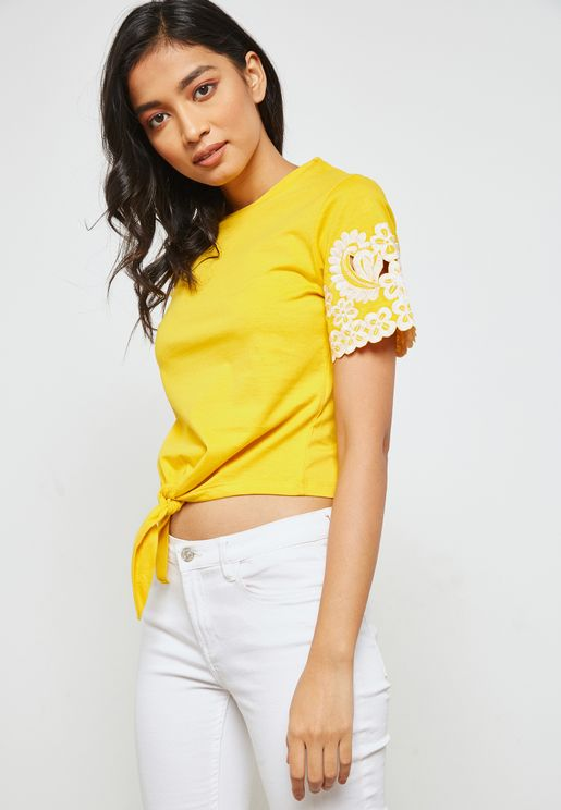 Front Tie Embroidered Sleeve T-Shirt