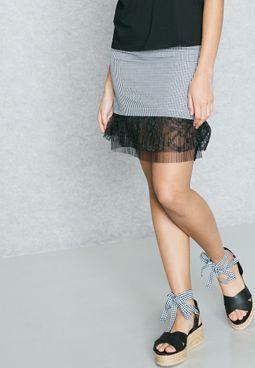 Sheer Detail Checked Skirt