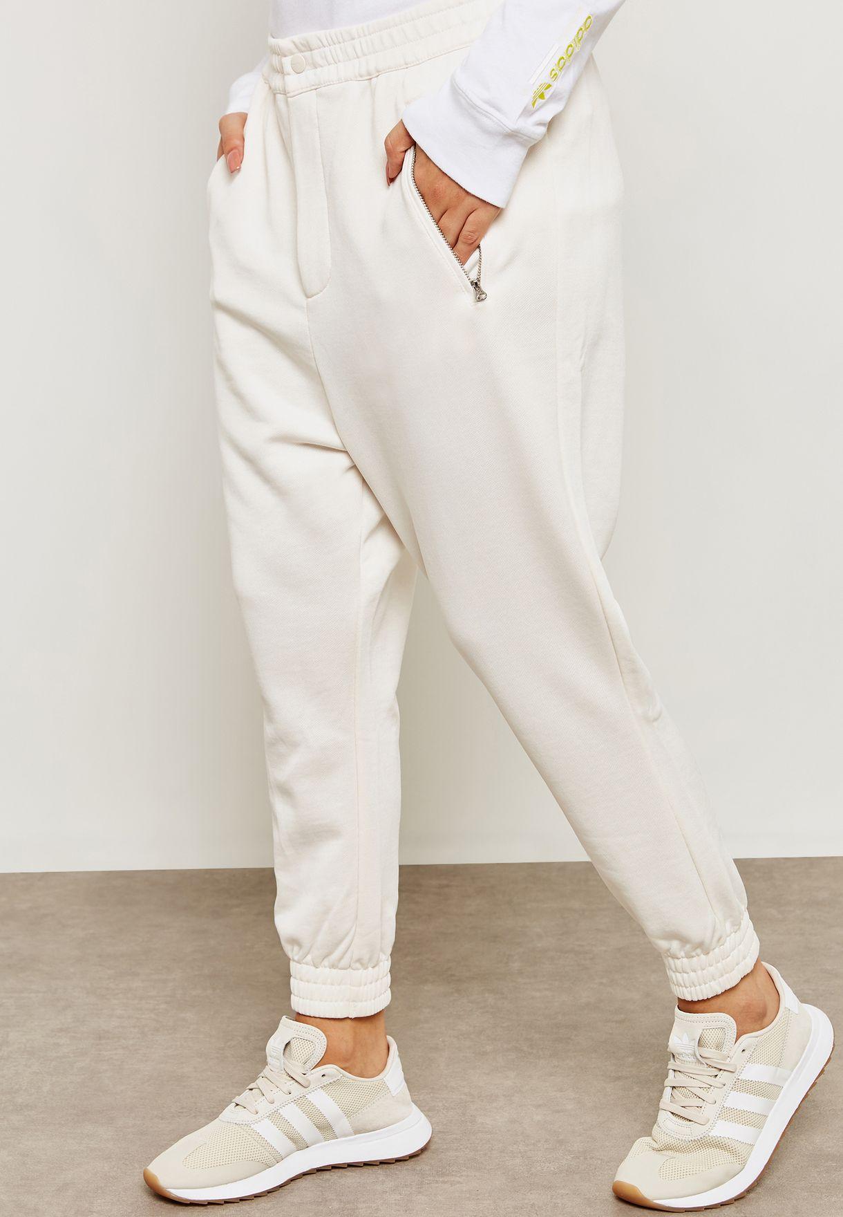 54c74227da Shop adidas Originals white Kaval Cuffed Sweatpants DN5564 for Women ...