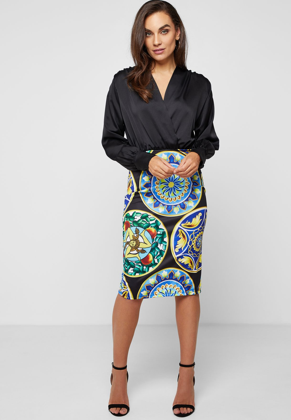 Printed Contrast Wrap Front Dress