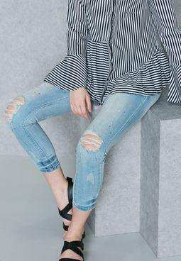 Paint Splatter Ripped Skinny Jeans
