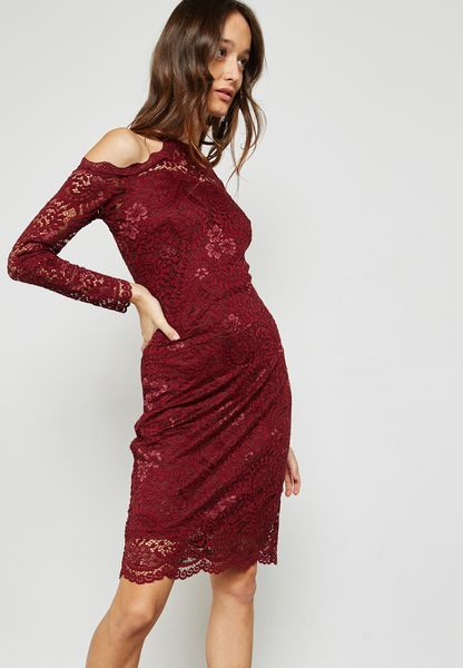 Shop Only burgundy Lace Detail Dress 15151027 for Women in Saudi -  ON544AT60PLV