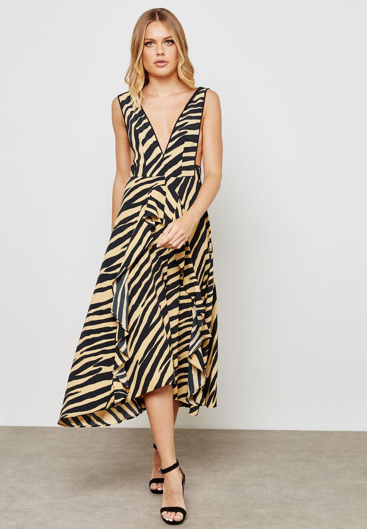 Zebra Print Pinafore Dress