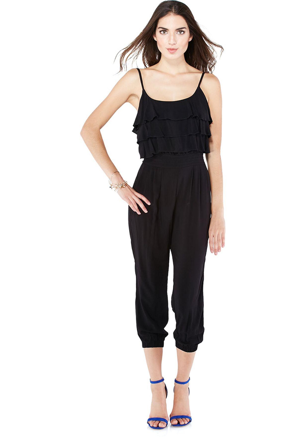 bba16756b2 Shop Lumière Timing black Ruffle Spaghetti Strap Jumpsuit for Women ...
