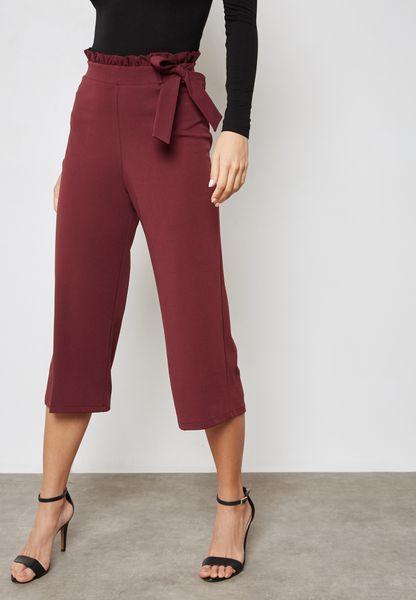 Ruffle Waist Belted Crop Pants