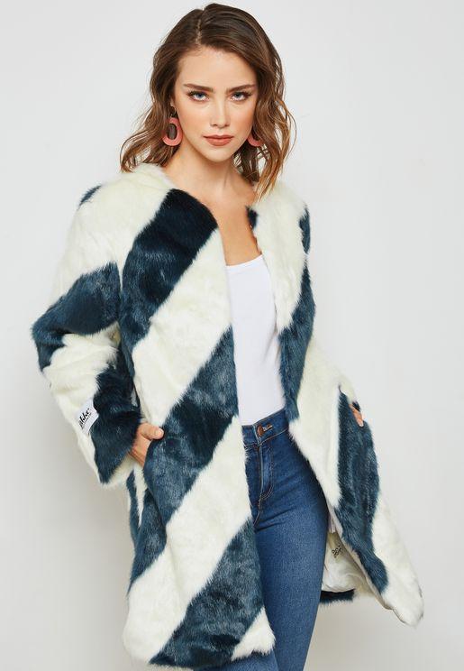 Stripe  Faux Fur Jacket