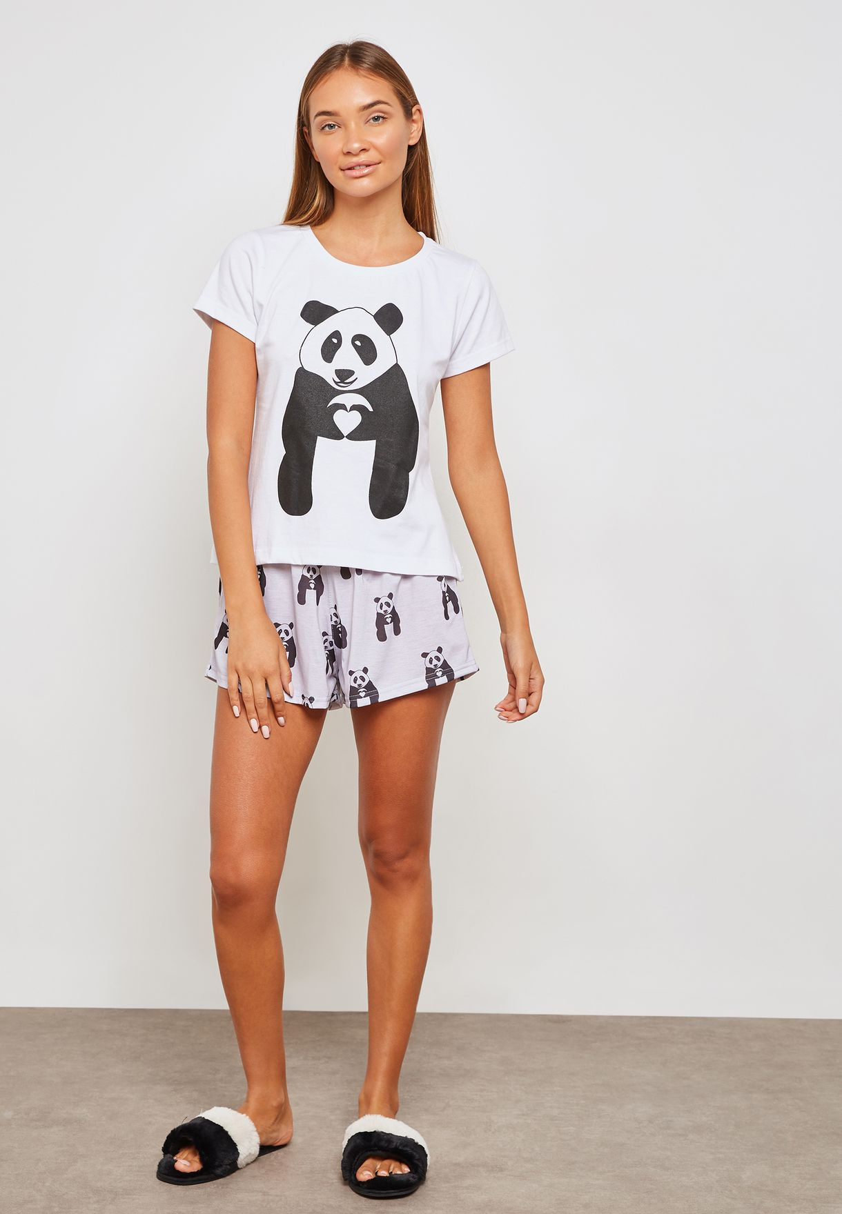 92d9aa35196 Shop Lounge District multicolor Panda Pyjama Shorts Set PANDA PRINT ...