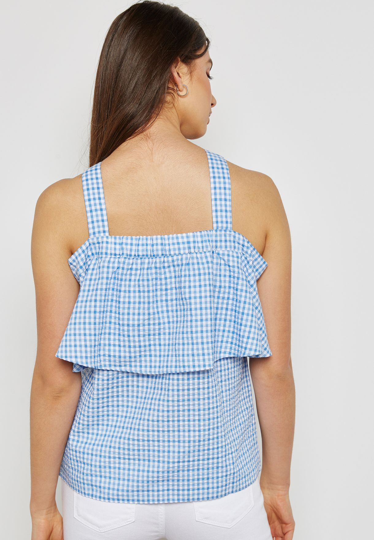 Checked Frill Detail Top