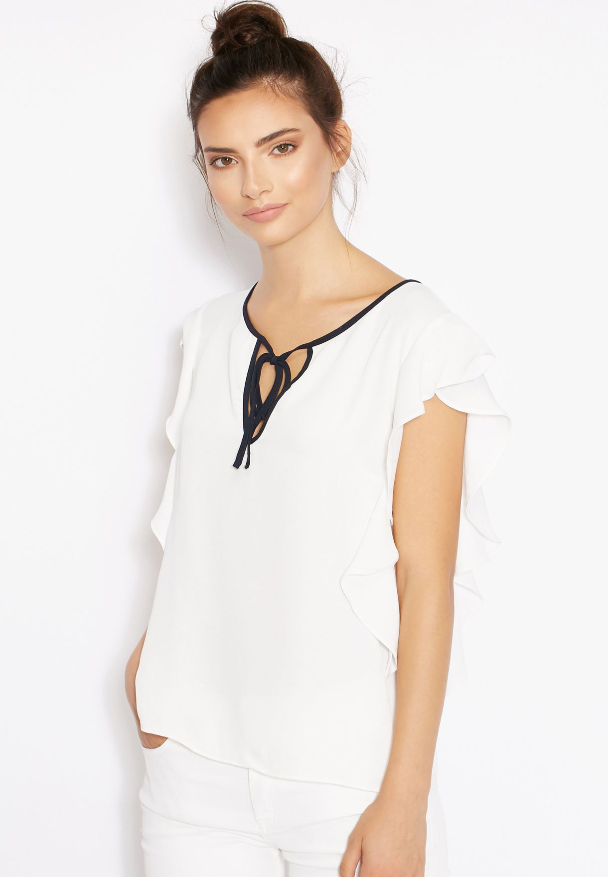 f72ce59d2b270a Shop Mango white Tie Neck Contrast Top 71093598 for Women in Saudi ...