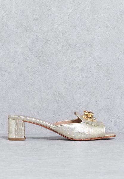 Textured Bejewelled Sandals