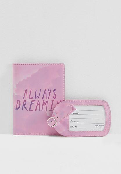 طقم من حافظة جواز سفر وحافظة لبطاقة تعريف الأمتعة