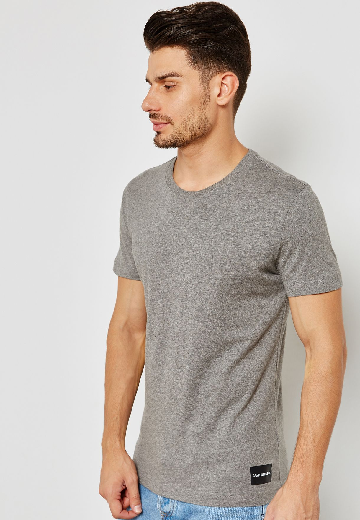 9f38ef5cd Shop Calvin Klein Jeans grey Basic Crew Neck T-Shirt J30J308037-039 ...
