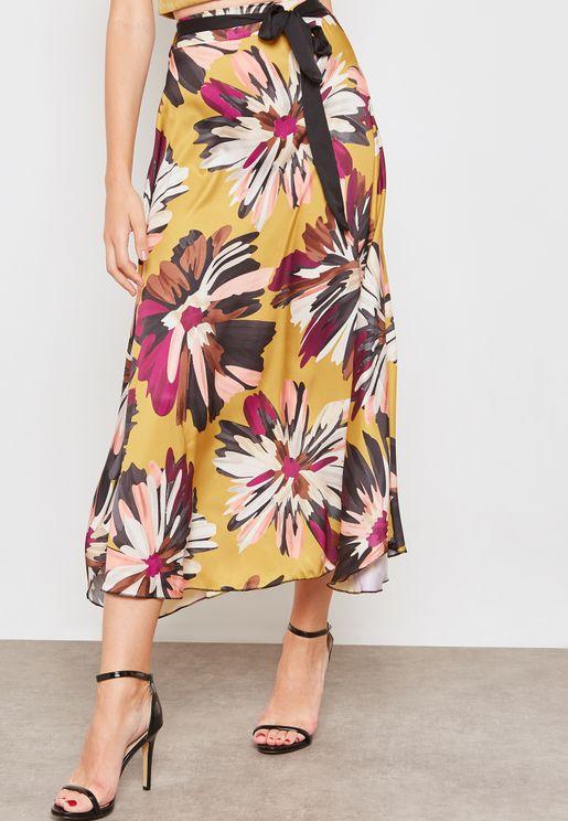 Floral Print Self Tie Satin Skirt