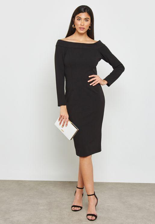 Bardot Long Sleeve Midi Dress