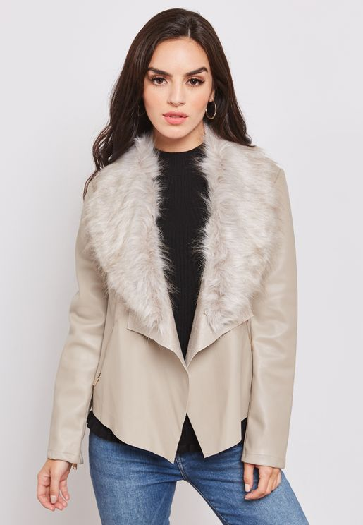 Faux Fur Collar Waterfall Jacket