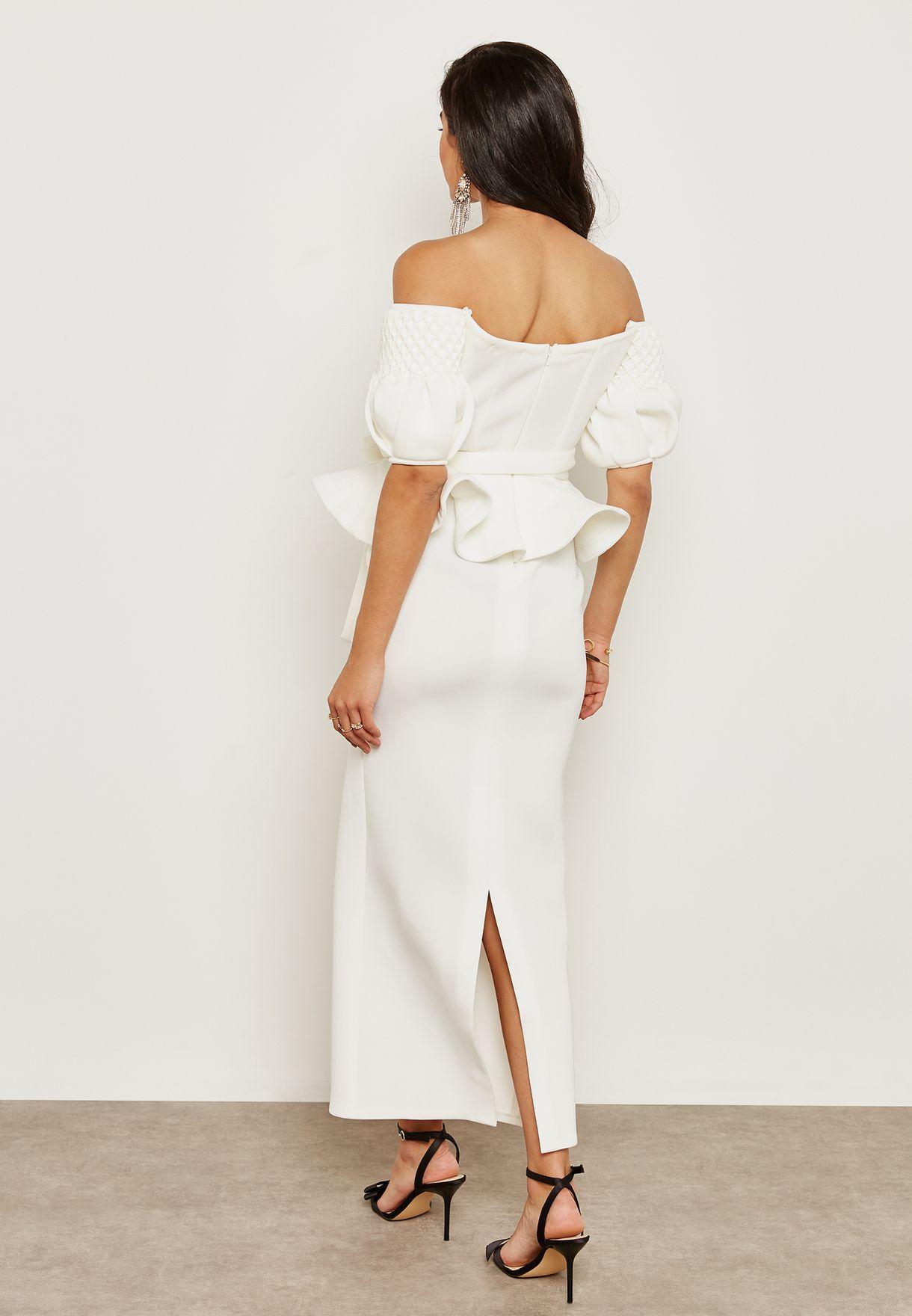 Puffed Sleeve Peplum Dress