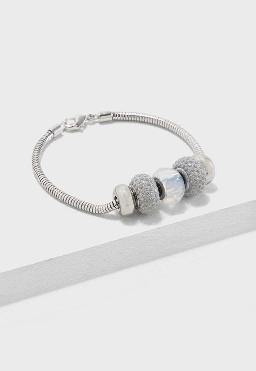 5 Charm Bracelet Made With Crystals From Swarovski
