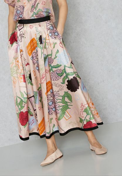Tie Waist Printed Skirt