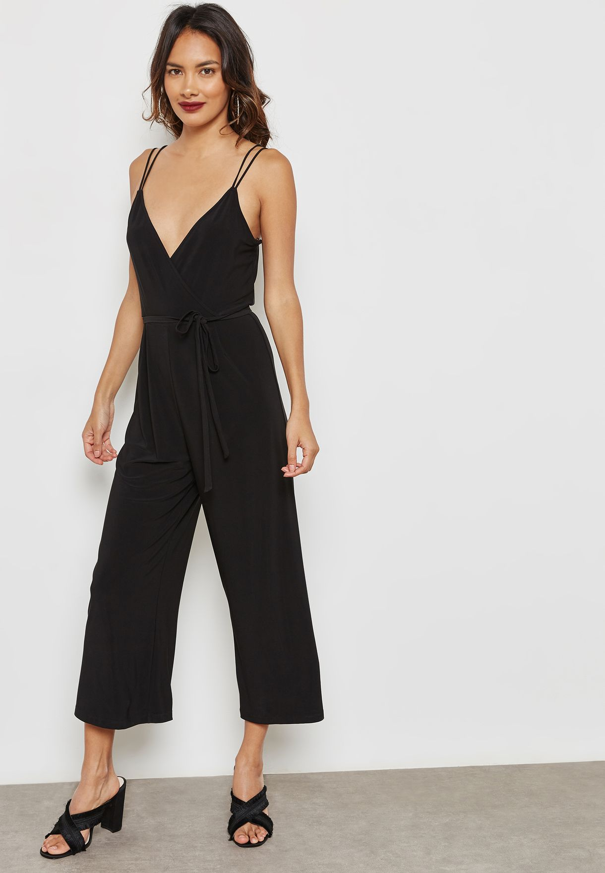 5c1e50322fc4 Shop Topshop black Tie Waist Plunge Jumpsuit 16V02MBLK for Women in ...