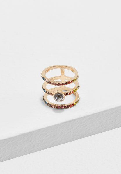 Coloured Stones Triple Ring
