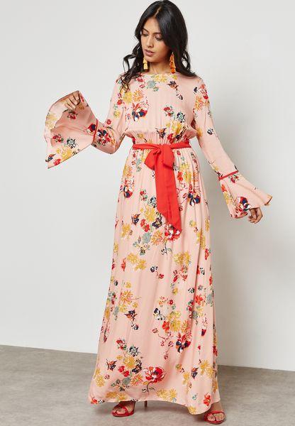 Floral Print Self Tie Maxi Dress