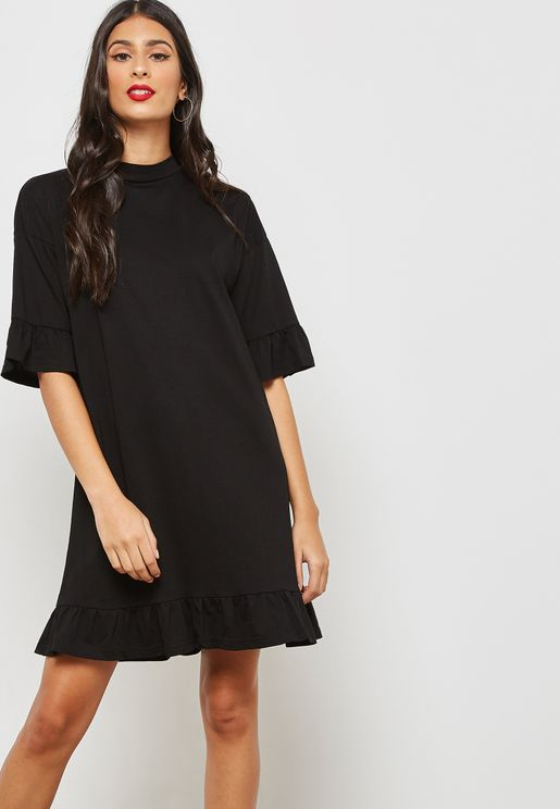 Ruffle Trim Tie Back Dress