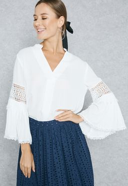 Lace Insert Detail  Flute Sleeve Top