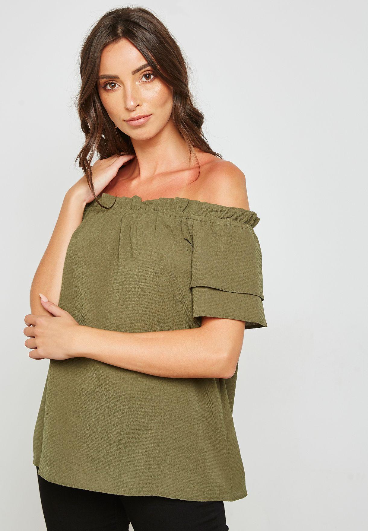 edf5a90d4e7 Shop Dorothy Perkins green Frill Sleeve Bardot Top 5742584 for Women in UAE  - DO860AT50TUN
