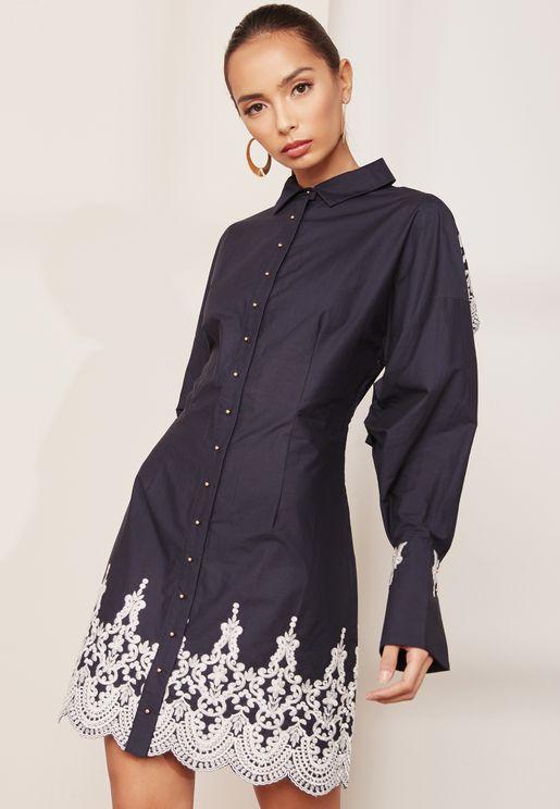 Balloon Sleeve Embroidered Bridges Shirt Dress