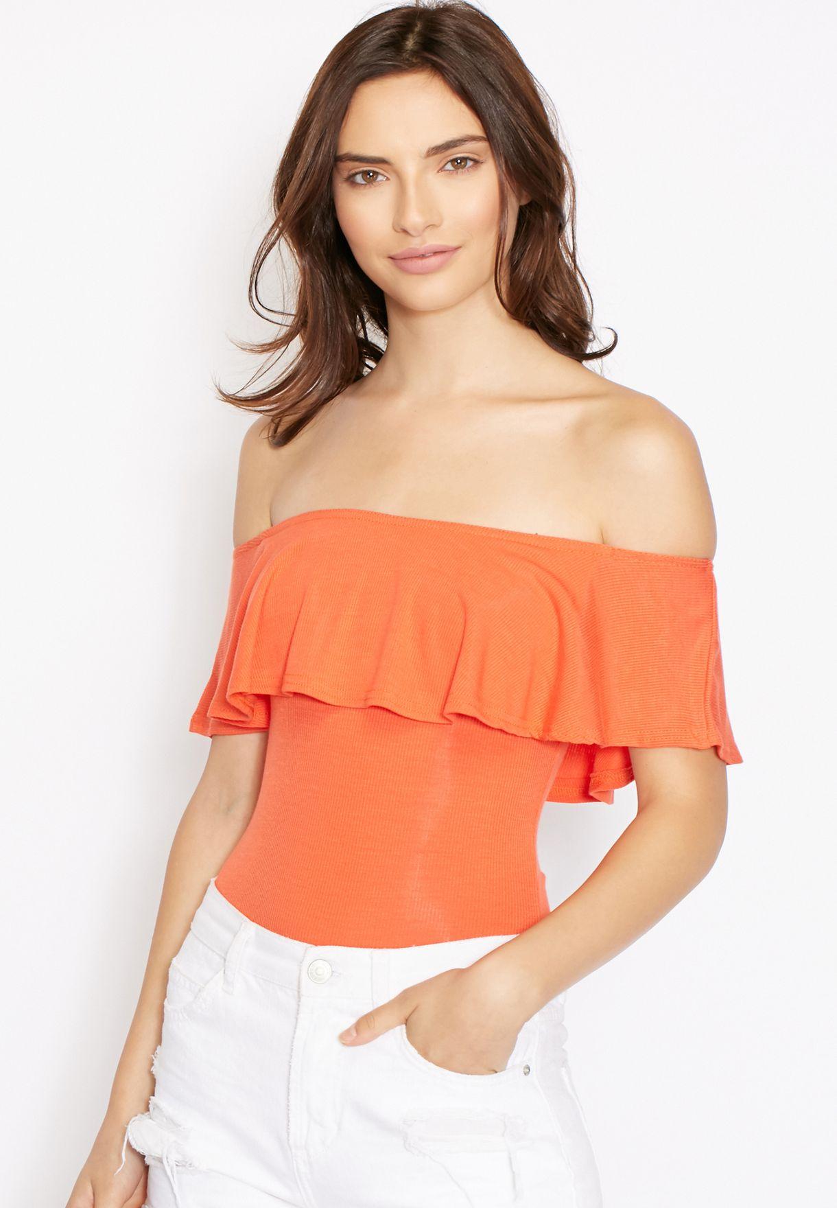29bbb6d7a1 Shop Missguided orange Ruffled Bardot Body for Women in Qatar - MI669AT50ZOZ