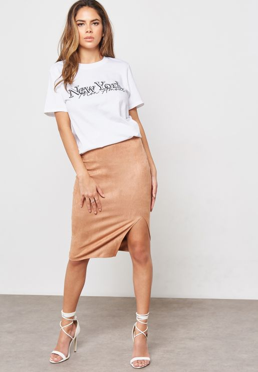 Faux Suede Split Skirt