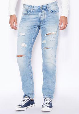 Jack & Jones Mike Slim Fit Light Wash Ripped Jeans