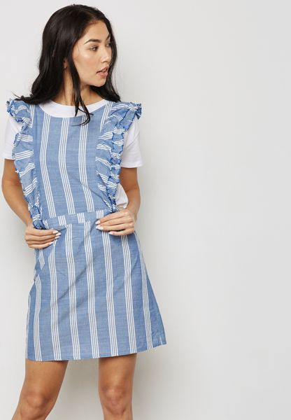Striped Ruffle Pinafore Dress
