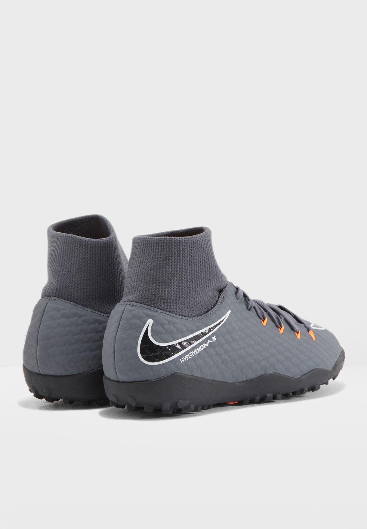 53c2a3ebc8d Shop Nike grey Hypervenom Phantomx 3 Academy DF TF AH7276-081 for ...