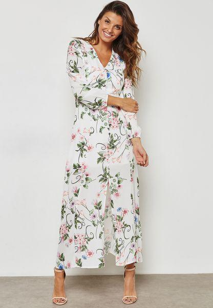 Floral Print Button Front Maxi Dress