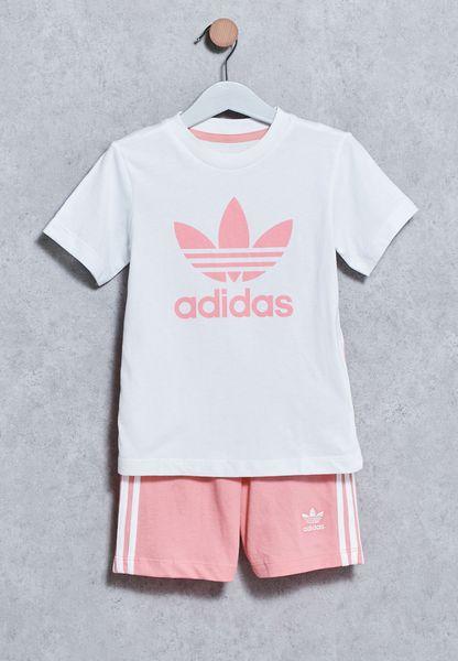 Shop Adidas Originals White Infant T Shirt Shorts Set BJ9053 For Children In Saudi