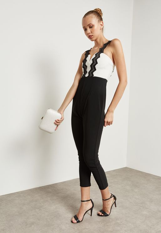 Chevron Trim Bandeau Jumpsuit