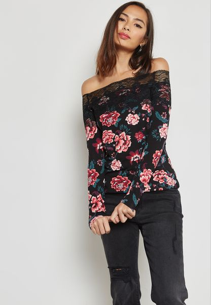 Floral Print Lace Trim Bardot Top