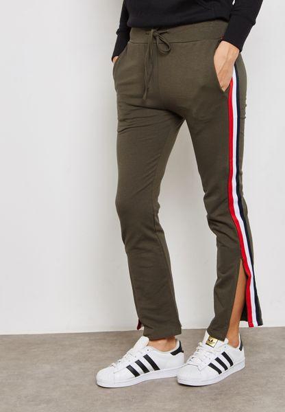 Contrast Side Slit Paneled Pants
