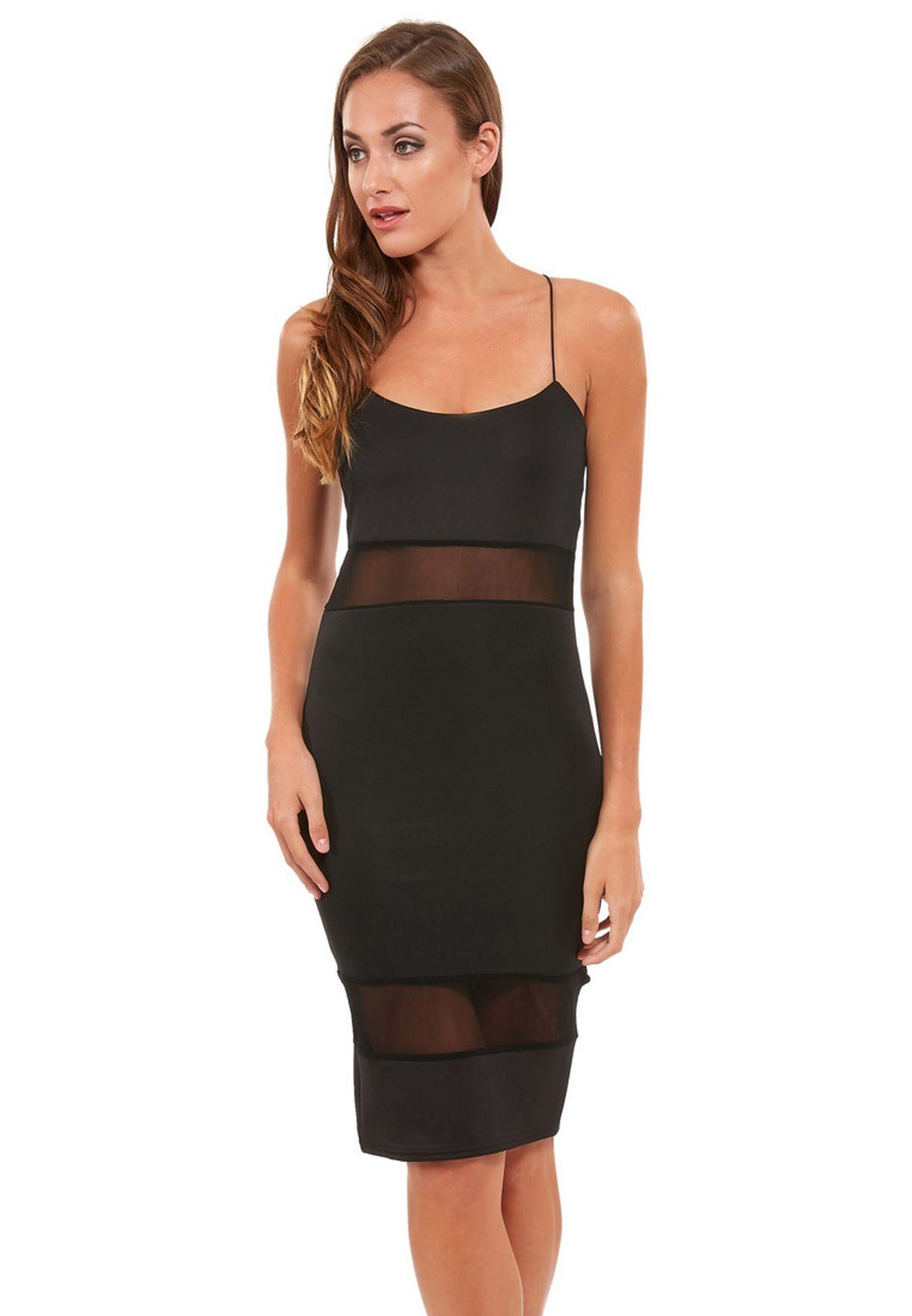 b5cd942ebf Shop Ruby Q black Mesh Insert Dress for Women in Oman - RU428AT50VMN