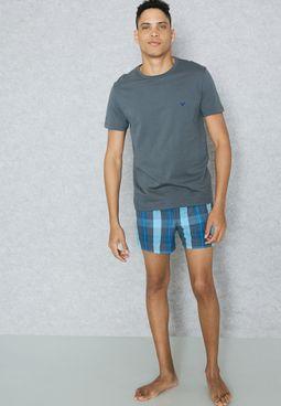 T-Shirt & Check Short Set