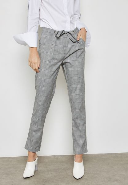 Tie Waist Checked  Pant