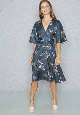 Printed Plunge Skater Dress