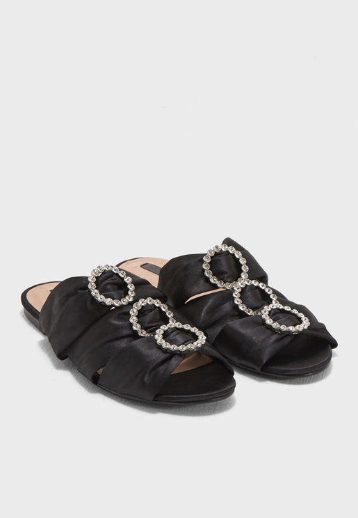 Chloe Jewel Trim Flat Sandal