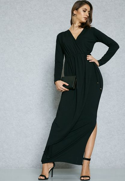 Wrap Front Tie Side Slit Dress