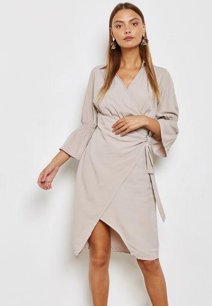 Wrap Front Flute Sleeve Dress