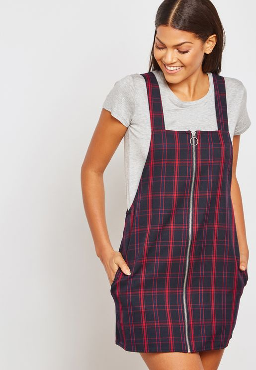 Full Zip Checked Pinafore Dress