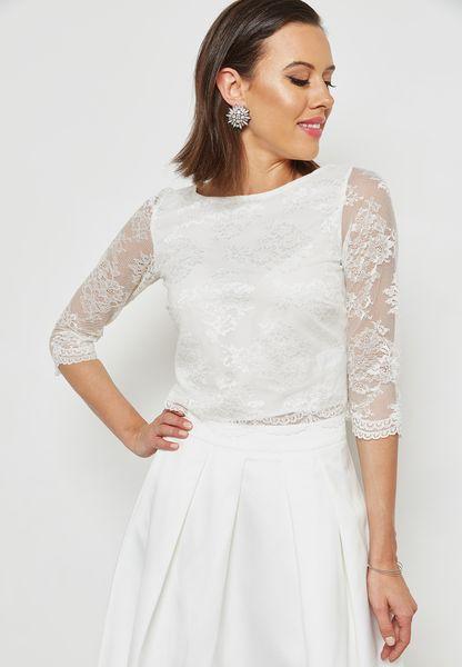 Sheer Sleeve Lace Bridal Top