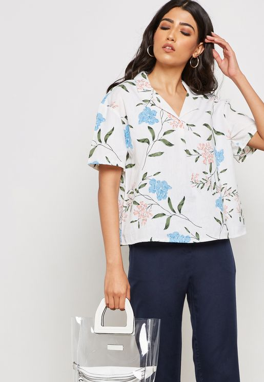 Floral Print Short Sleeve Shirt