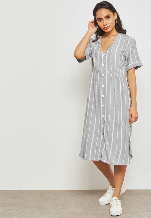 Button Detail Striped Dress